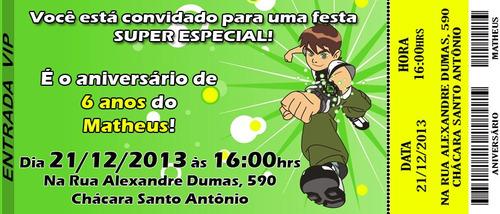 50 Convites - Convite Infantil Ingresso Ben10 Aniversário