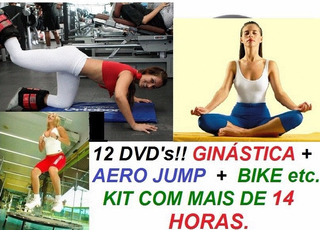 Kit Aero Jump Bola Abdomen Step Bike, Muito Mais 12 Dvds Uio