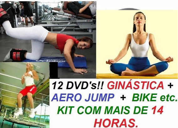 Kit Aero Jump Bola Abdomen Step Bike, Muito Mais 12 Dvds Cvb