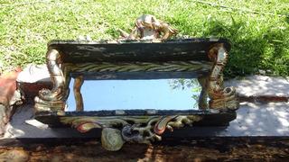 Repisa Antigua De Madera Tallada Con Espejo