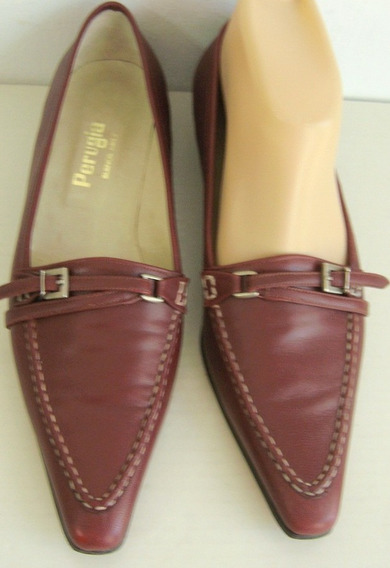 Perugia Zapatos 37 1/2 Nuevos! Cuero Bordo-uva (ana.mar)
