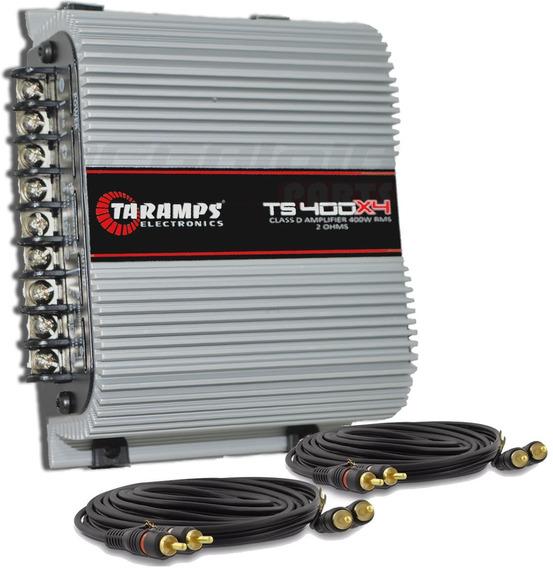 Modulo Taramps Ts 400x4 T400 Wrms Digital + 2 Rca Detoner