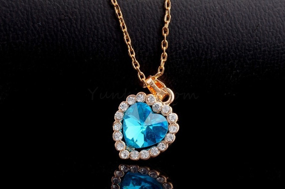 Colar Coraçao Azul Feminino Cristal Swarovski Banho Ouro18k