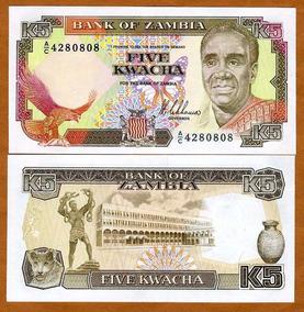 Zâmbia 5 Kwacha 1989 P. 30 Fe Cédula - Tchequito