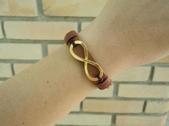 Pulseira Feminina Couro Amor Infinito Dourado Bracelete