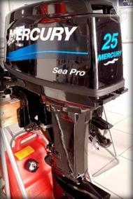 Motor Popa Mercury 25 Hp Sea Pro 2t 0km C/ Partida Eletrica