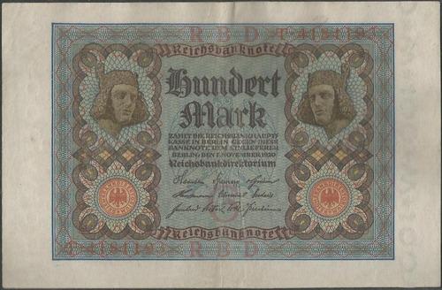 Imagen 1 de 2 de Alemania, 100 Mark 1 Nov 1920 P69a 7 Dig