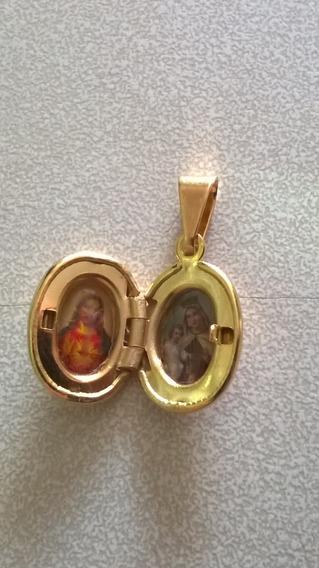 Pingente Relicário 2 Fotos Coração De Jesus E Nossa Senhora