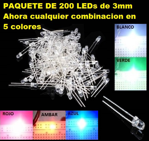 Un Paquete De 200 Piezas,  Led 3mm En 5 Colores