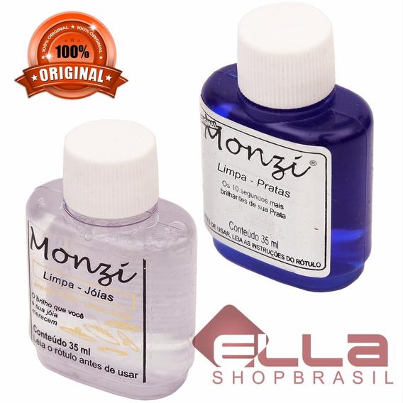 Kit Limpa Joias Em Ouro + Limpa Prata Monzi 35ml Original