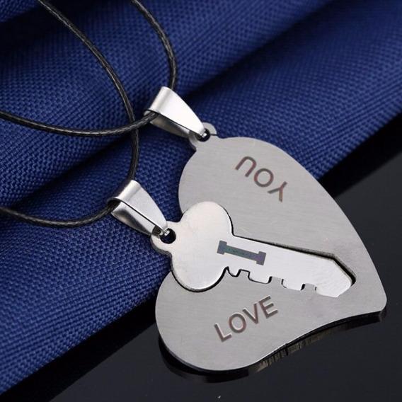Colar Coração Chave Dia Dos Namorados Casal Amor Brinde