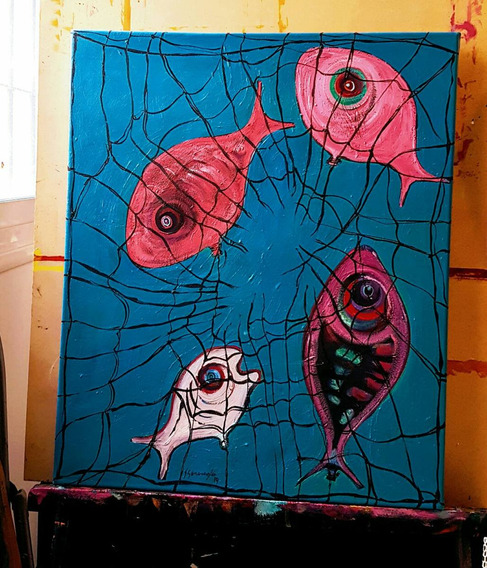 Decoracion Creativa: Cuadro Pintura Pez En Acrilico.