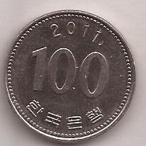 Corea Del Sur Moneda De 100 Won Año 2011