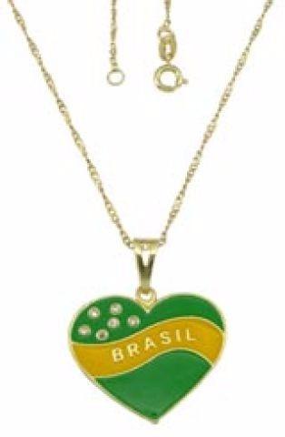 Gargantilha Folheada A Ouro Pingente Forma Coração Verde/ama