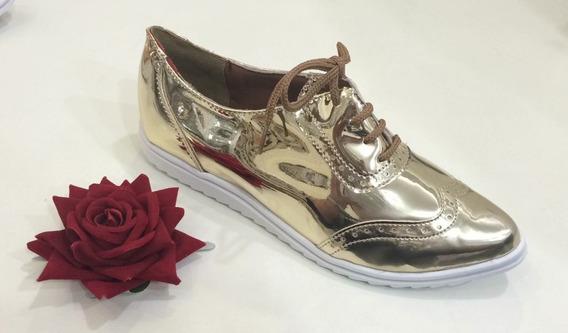 Sapato Tênis Oxford Feminino Dourado Metalizado