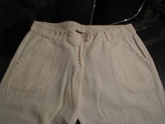 Pantalon Dama Juvenil Capri De Lino Color Beige T - S