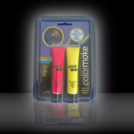 Gel Fluorescente Neon Para Cabelo Kit 2un Vermelho E Amarelo