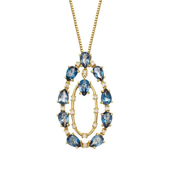 Gargantilha Em Ouro 18k(750) Com Topázios E Diamantes.