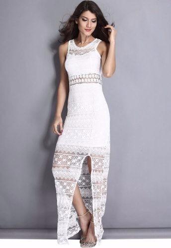Vestido Branco Rendadovestido Longo Em Rendacivil Noivado