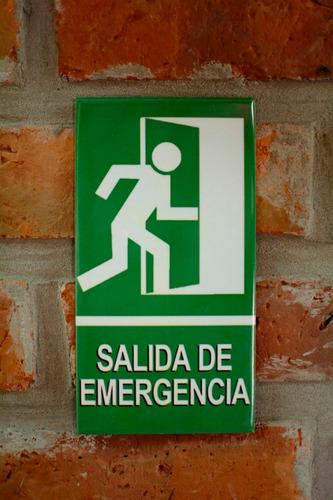 Cartel De Chapa Salida De Emergencias  - Chico