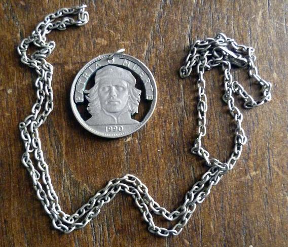 Che Guevara Colgante Collar Cadena Artesanía Medalla Moneda