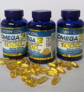 Omega 3 Óleo De Peixe 1000 Mg-360 Capsl 3potes Original.