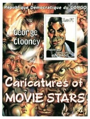 Caricatura De George Clooney - Hoja Con Estampilla Del Congo