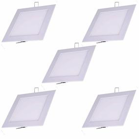 Kit 5 Peças Plafon Led Quadrado Embutir Slim 12w Branco Frio