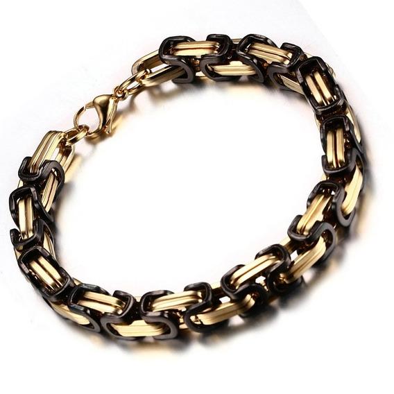 Pulseira Bracelete Quadrada Bizantino Preta E Dourada