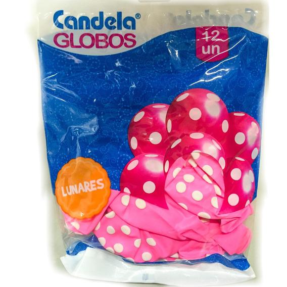 Globos Rosas C/ Lunares Blancos X12un - La Golosineria