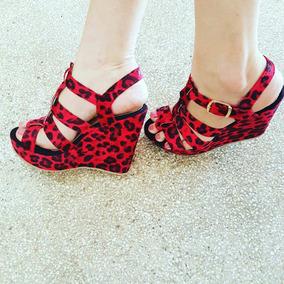 Sapatos Femininos Sandálias Anabela Animal Print
