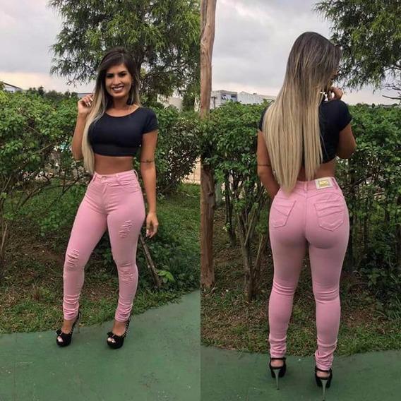 Calça Feminina Jeans Rosa Rasgada Levanta Bumbum C/ Lycra