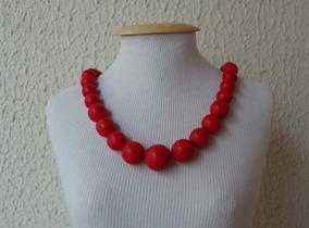 Colar Bolas De Pedra Natural Howlita Vermelha Lindo!!