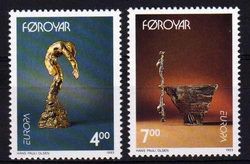2 Estampillas De Faroe (dinamarca) Tema Arte Contemporaneo