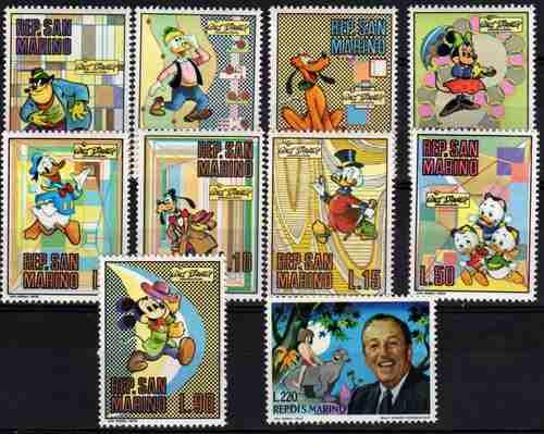 10 Estampillas De San Marino Tema Disney Año 1970