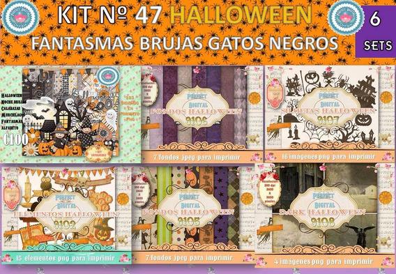 1 Kit Imprimible X 6 Halloween Candybar Mesa Dulce Cotillon