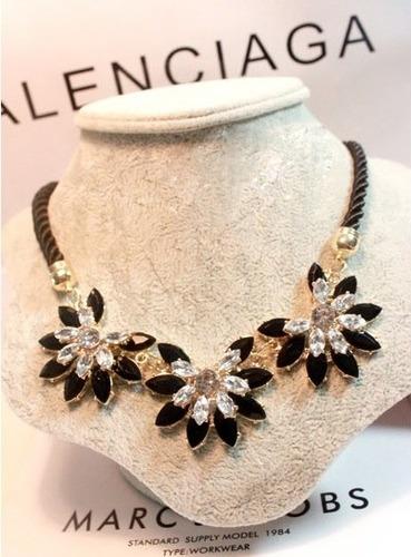 Collar Aretes Maxi Con Cristales Nuevo Importado En Stock