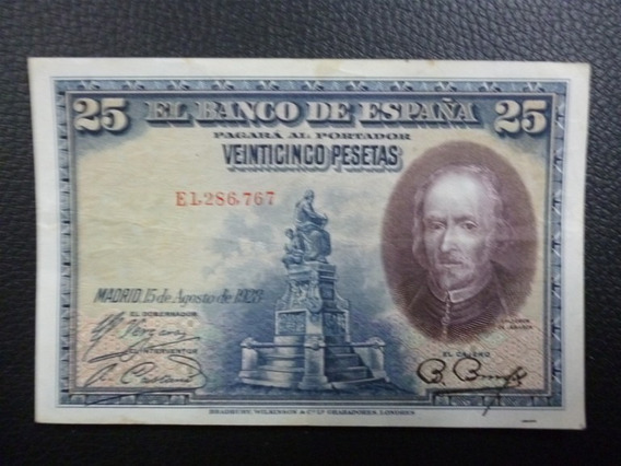 España Billete 25 Pesetas Xf 1928 Pick 74