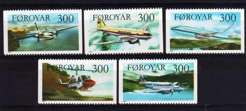5 Estampillas De Faroe (dinamarca) Tema Aviones Helicoptero