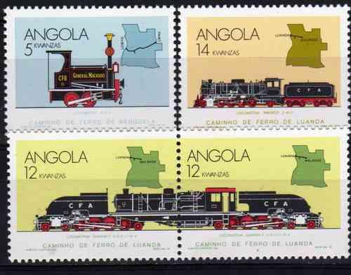 4 Estampillas De Angola Tema Trenes Año 1990
