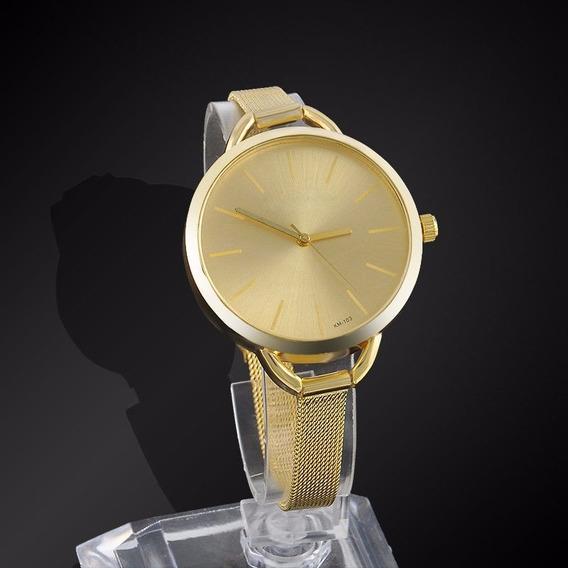 Relógio Feminino Dourado Quartzo Analógico - Frete Grátis