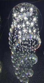 Lustre Cristal 57x57x15cm Adornos Pendente Super Led Lâmpada