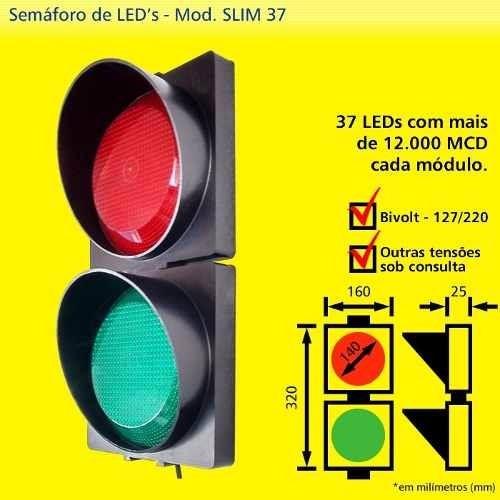 Semaforo Grande Slim 37 Led 12000 Mcu X 12v Sinalizador
