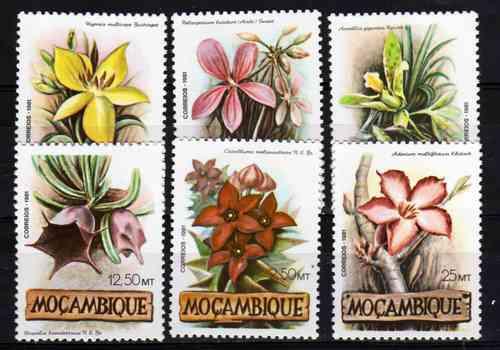 6 Estampillas De Mozambique Tema Flores Año 1981
