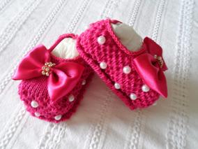Sapatilha Tipo Meia Tricô Bebê Menina Vermelho Com Pérolas