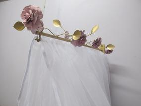 Dossel Reto Dourado Com Flores Rosa Para Mosquiteiro Dossel