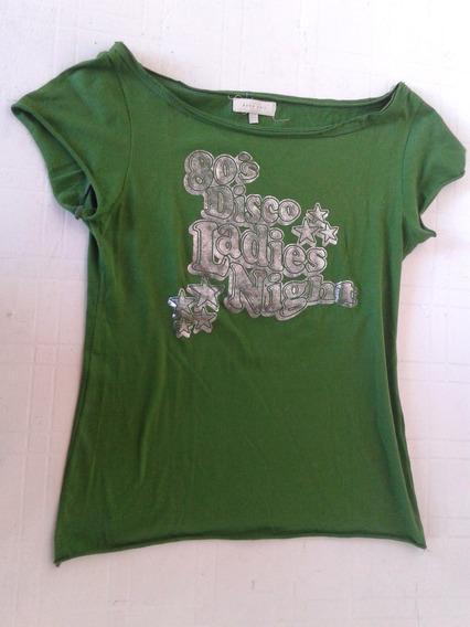 Remera Zara Verde Con Plateado Talle M