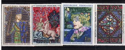 4 Estampillas De Francia Tema Pintura Toulouse Lautrec Etc