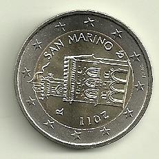 Moneda San Marino Bimetalica 2 Euros Año 2011 Sin Circular