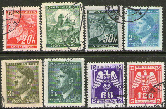 Bohemia Y Moravia 8 Sellos Usados Adolf Hitler Años 1939-43